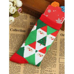 Pair of Knitted Diamond Christmas Jacquard Socks - Green