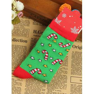 Pair of Knitted Christmas Jacquard Color Block Socks - Green