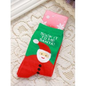 Pair of Knitted Letter Snowmen Jacquard Christmas Socks - Red