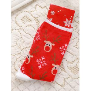 Pair of Knitted Deer Jacquard Christmas Socks - Red