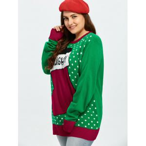 Plus Size Christmas Stock Pattern Sweater - GREEN 3XL