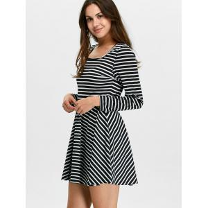 Stripe Fit and Flare Mini Skater Dress with Long Sleeve -