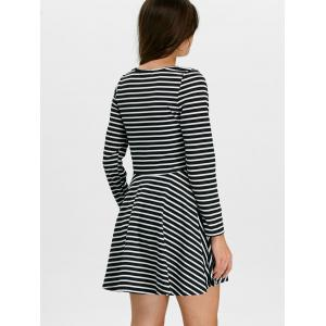 Stripe Mini  Fit and  Flare Skater Dress with Sleeves - BLACK L