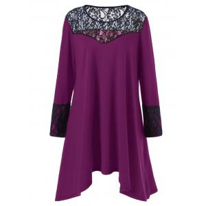 Plus Size Lace Trim Asymmetrical T Shirt Dress