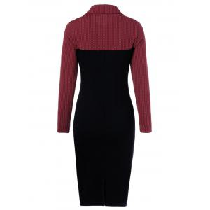 Side Collar Long Sleeve Sheath Dress - RED WITH BLACK XL