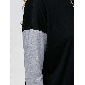 Drop Shoulder Longline Sweatshirt - BLACK AND GREY XL