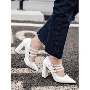 Buckles Pointed Toe Chunky Heel Pumps -