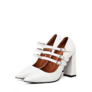 Buckles Pointed Toe Chunky Heel Pumps - WHITE 37