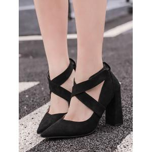 Pointed Toe Cross Straps Chunky Heel Pumps -