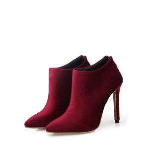 Zip Stiletto Heel Pointed Toe Ankle Boots -