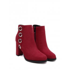 Metal Ring Zip Chunky Heel Ankle Boots -