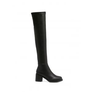 Round Toe Platform Zipper Thigh Boots