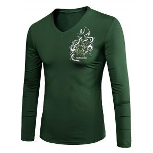 Animal Print Long Sleeve V Neck T-Shirt - Army Green - M