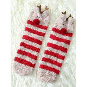 Coral Fleece Cartoon Deer Socks - Red - W16 Inch * L47 Inch