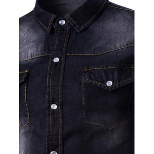Breast Pocket Button Up Washed Denim Shirt -