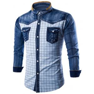 Long Sleeve Pocket Grid Denim Insert Shirt