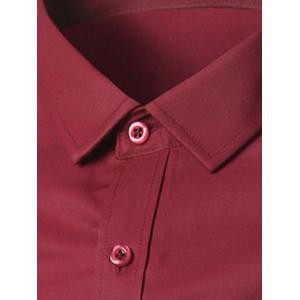 Long Sleeve Button Up Plain Shirt - BURGUNDY 5XL