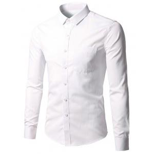 Long Sleeve Button Up Plain Shirt - White - M