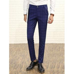 Zipper Fly Straight Leg Plaid Dress Pants