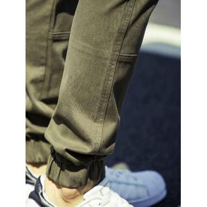 Lace Up Beam Feet Splicing Design Jogger Pants - ARMY GREEN 38