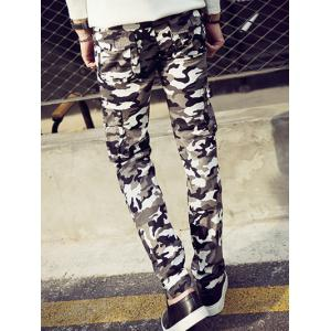 Camouflage Pattern Narrow Feet Cargo Pants - CAMOUFLAGE COLOR 36