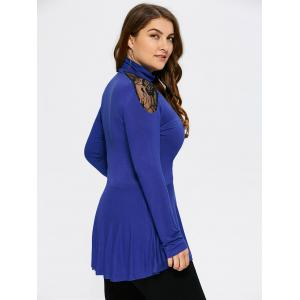Plus Size Lace Insert Peplum T-Shirt - BLUE 5XL