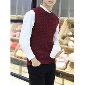 Crew Neck Kink Design Sleeveless Sweater Vest - Red - L