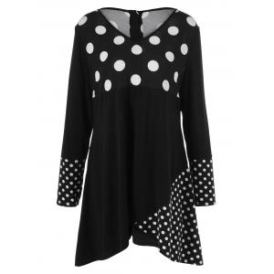 Plus Size Polka Dot Trim Asymmetrical Dress - White And Black - 5xl
