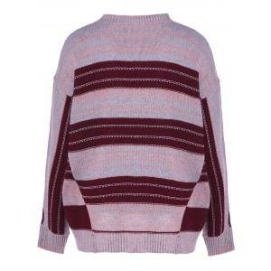Space Dyed Crew Neck Color Block Knitwear -