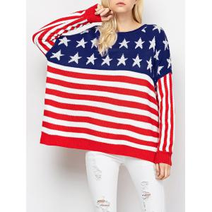 Color Block America Flag Pullover Sweater - Red And White - M