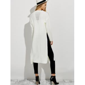 Ripped High Slit Pullover Sweater - WHITE 2XL