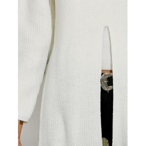 Ripped High Slit Pullover Sweater - WHITE XL