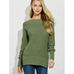 Backless Lace Up Ribbed Sweater - GREEN 2XL