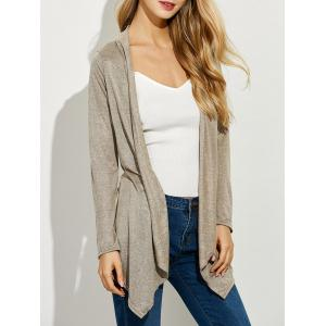 Asymmetrical Open Front Cardigan - Apricot - M