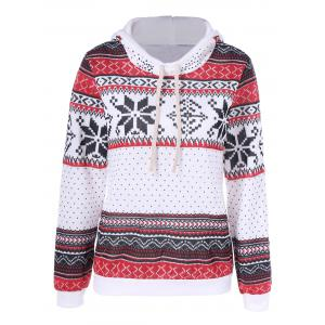 Geometrical Trible Print Pullover Hoodie - White - Xl