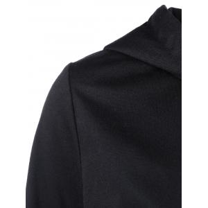 Zipper Up High Hem Hoodie Low - Noir et Gris XL