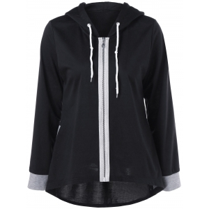 Zipper Up High Low Hem Hoodie - Black And Grey - M