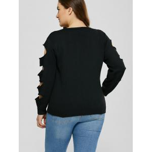 Cut Out Plus Size Crew Neck Sweater - BLACK 5XL