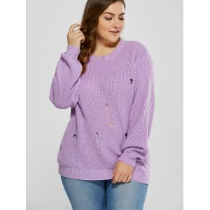 Plus Size Ripped Crew Neck Ribbed Sweater - PURPLE 5XL
