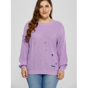 Plus Size Ripped Crew Neck Ribbed Sweater -
