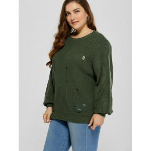 Plus Size Ripped Crew Neck Ribbed Sweater - BLACKISH GREEN 5XL