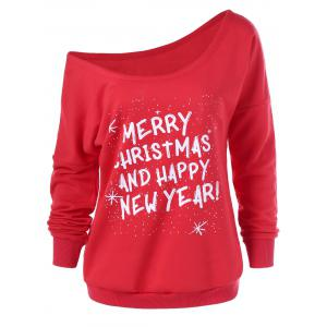 Merry Christmas And Happy New Year Sweatshirt - Red - Xl