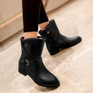 Low Heel Buckle Strap Mid Calf Boots -