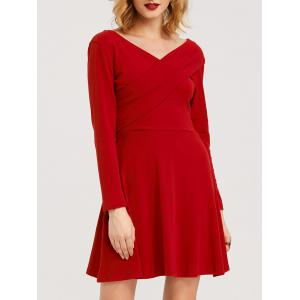 High Waist Bandage Long Sleeve Dress - Red - L