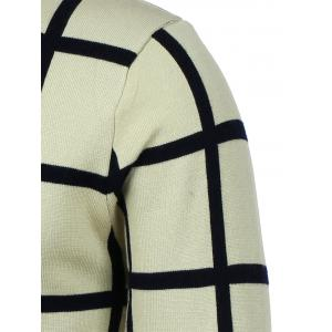 Knitted Crew Neck Grid Sweater - APRICOT 2XL