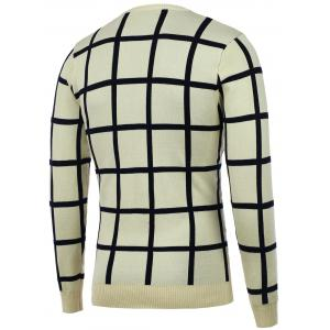 Knitted Crew Neck Grid Sweater -