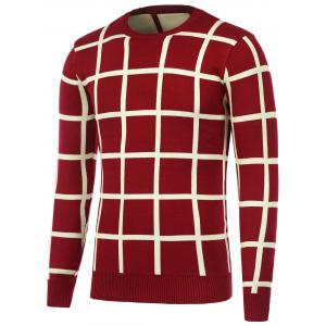Knitted Crew Neck Grid Sweater