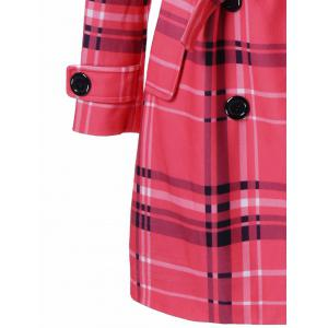 Tie Belt Hooded Plaid Woolen Coat -