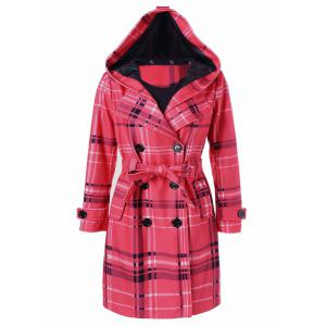 Tie Belt Hooded Plaid Woolen Coat - Red - M