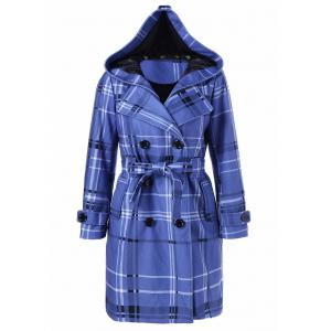Tie Belt Hooded Plaid Woolen Coat - Medium Blue - M